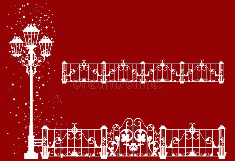 Sistema de la silueta del vector de la luz y de la cerca de calle de la Navidad ilustración del vector