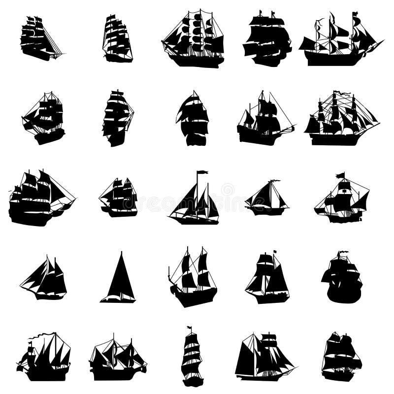 Sistema de la silueta del velero stock de ilustración