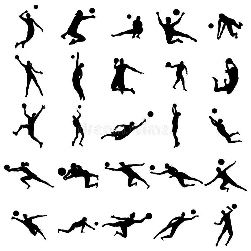 Sistema de la silueta del voleibol stock de ilustración