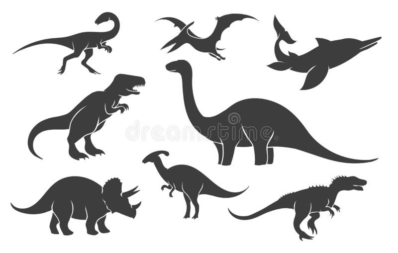 Sistema de la silueta de Dinoussaur stock de ilustración