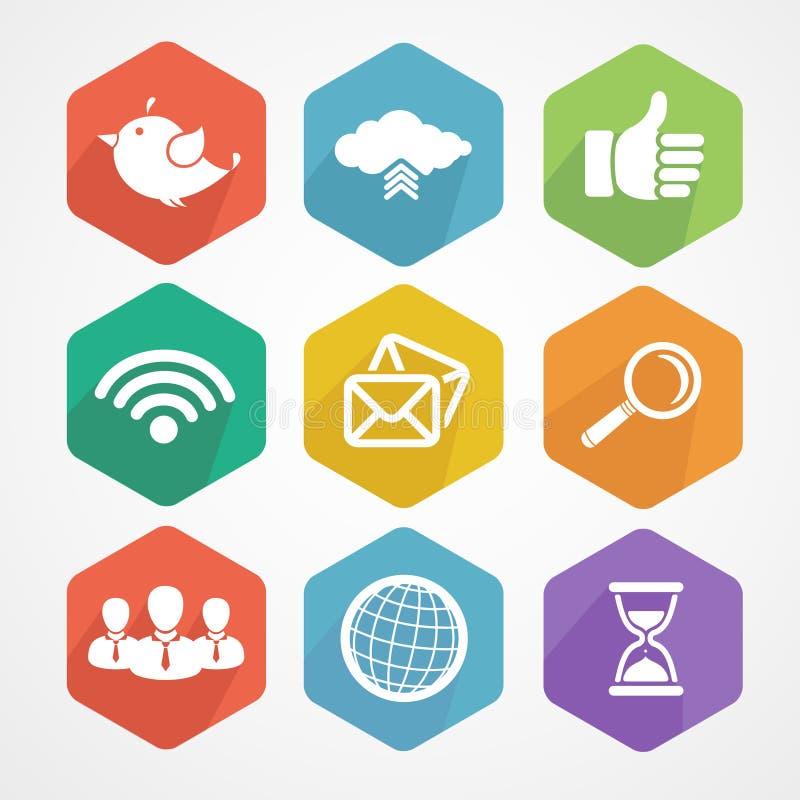 Sistema de la silueta plana de los iconos sociales de la red libre illustration
