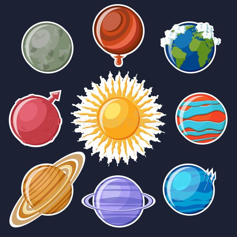 Sistema de la Sistema Solar o de la etiqueta engomada de los planetas ilustración del vector