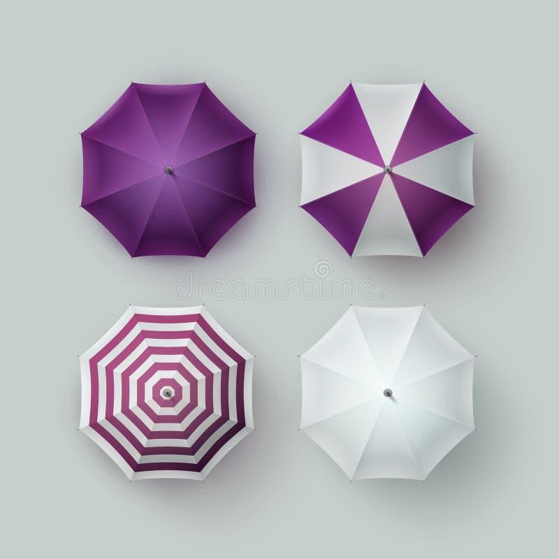 Sistema de la sombrilla rayada púrpura blanca del paraguas libre illustration
