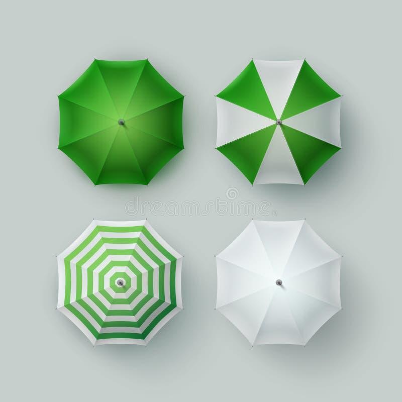 Sistema de la sombrilla verde blanca del parasol del paraguas de la lluvia ilustración del vector