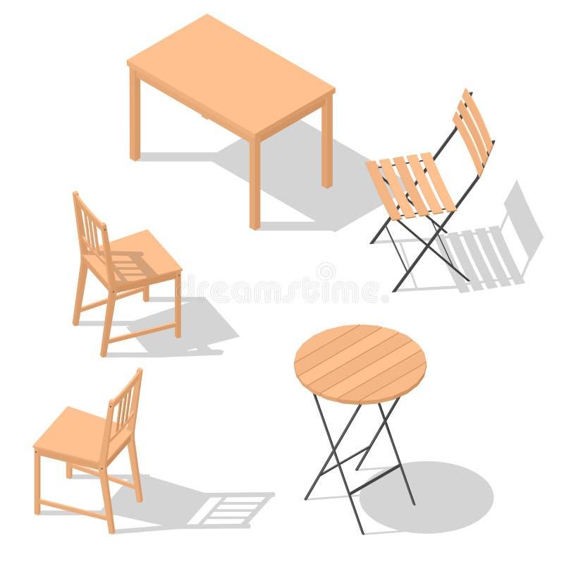 Sistema de la tabla de la silla ilustración del vector