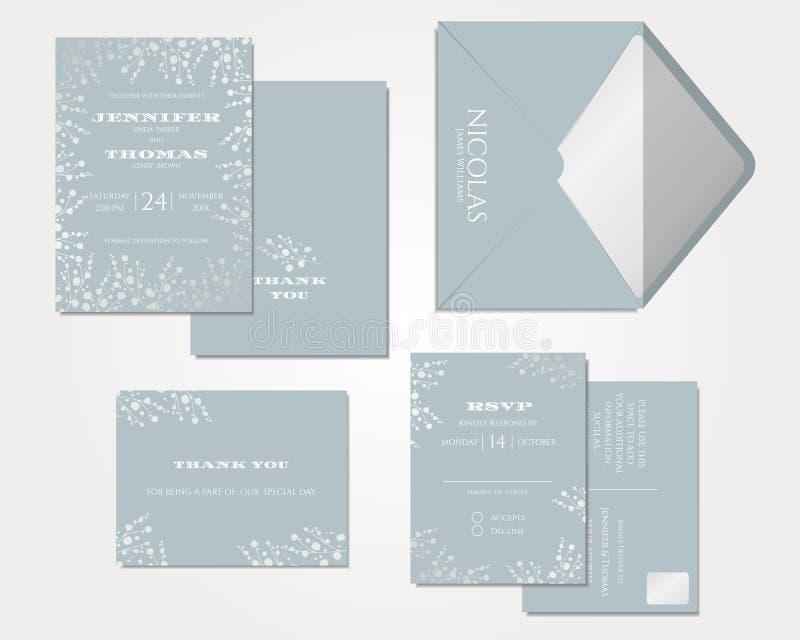 Sistema de la tarjeta de la invitación de la boda Colección de la respiración del ` s del bebé vector/ejemplo libre illustration