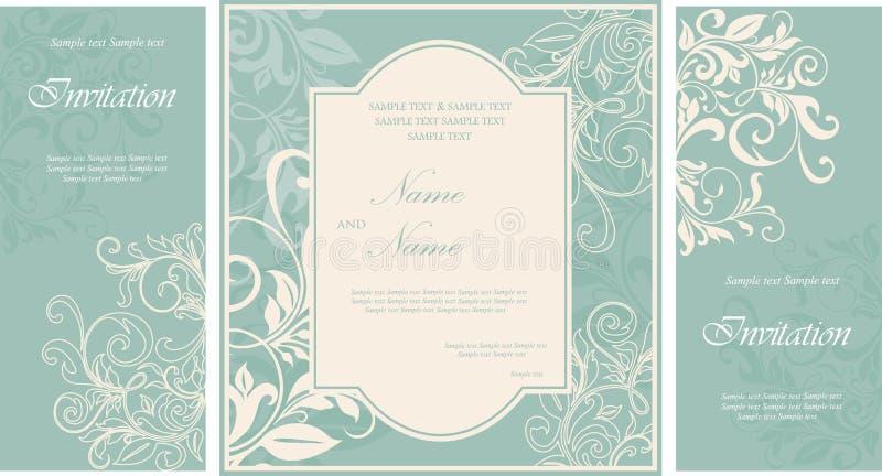 Sistema de la tarjeta de la invitación de la boda del damasco stock de ilustración