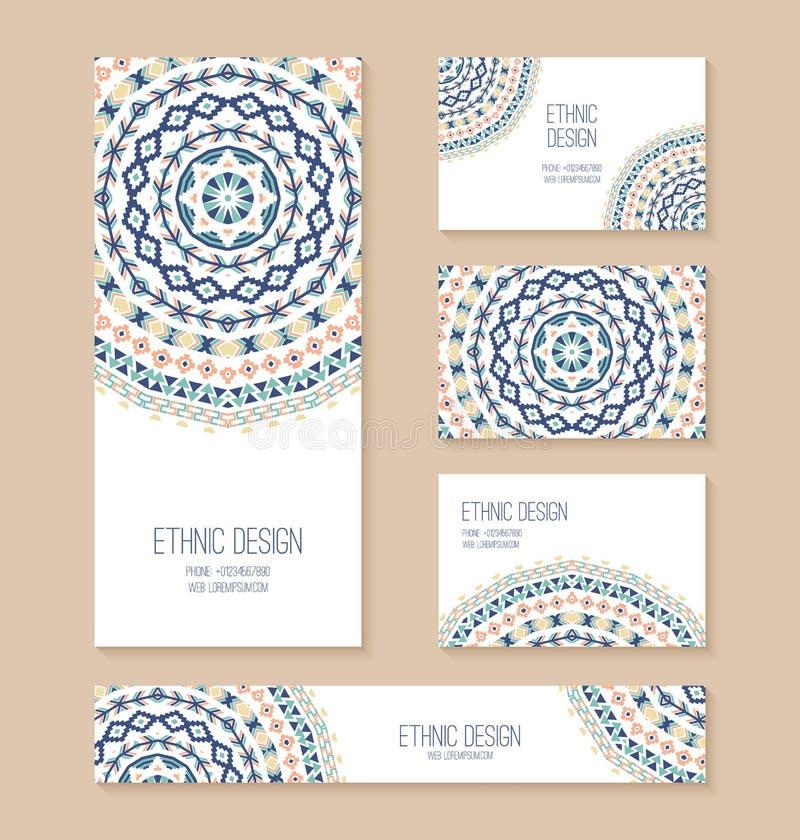 Sistema de la tarjeta de visita, bandera, plantillas de la tarjeta de la invitación libre illustration