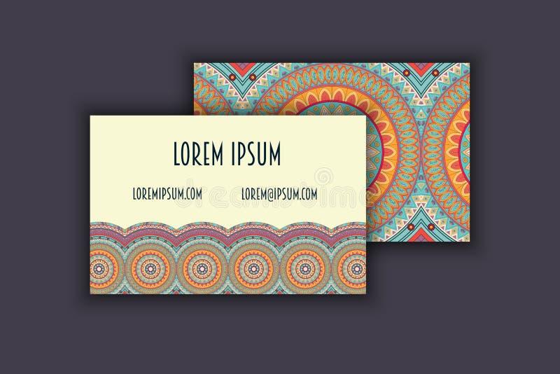 Sistema de la tarjeta de visita del vintage del vector Modelo floral de la mandala y Orn stock de ilustración