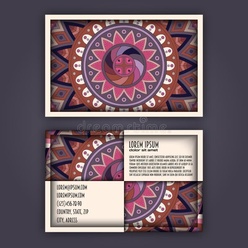 Sistema de la tarjeta de visita del vintage del vector Modelo floral de la mandala y Orn ilustración del vector