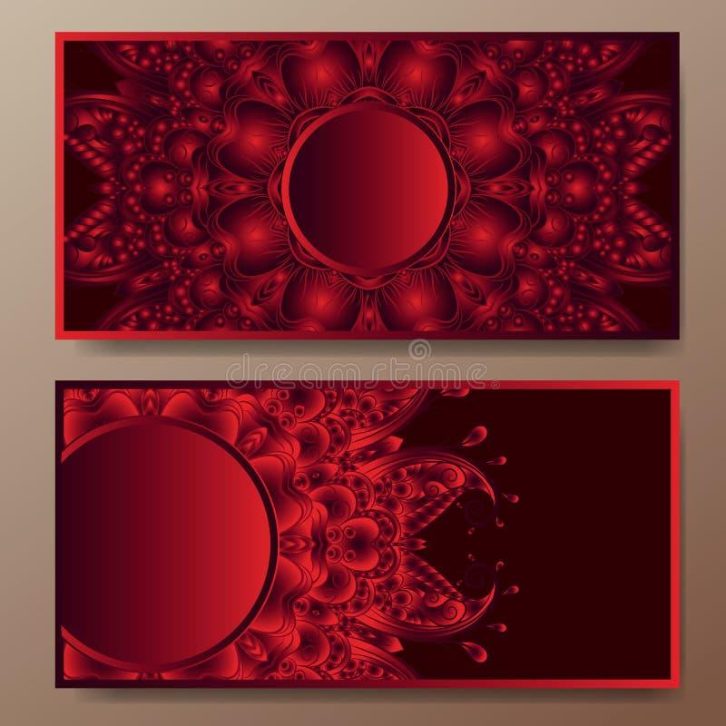 Sistema de la tarjeta de visita del vintage del vector Modelo y ornamentos florales de la mandala ilustración del vector