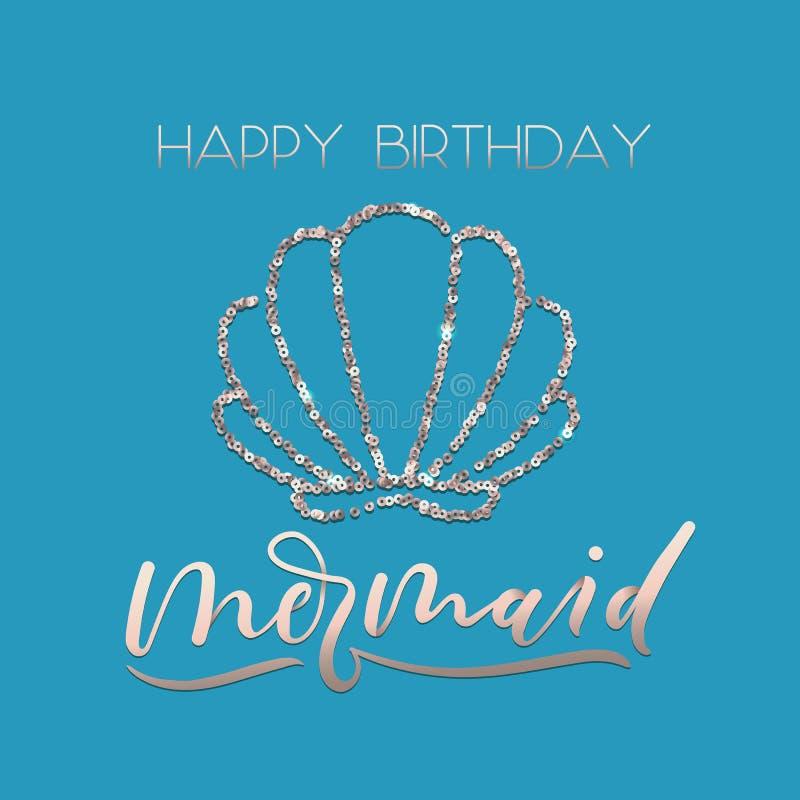 Sistema de la tarjeta de felicitación de la sirena del feliz cumpleaños con oro color de rosa de la chispa ilustración del vector