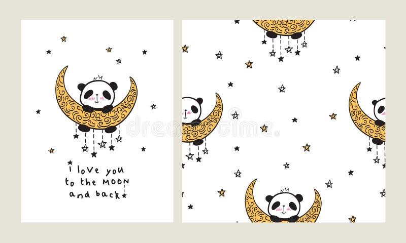 Sistema de la tarjeta de felicitación y del modelo inconsútil con el corazón y pandas lindas en la luna stock de ilustración