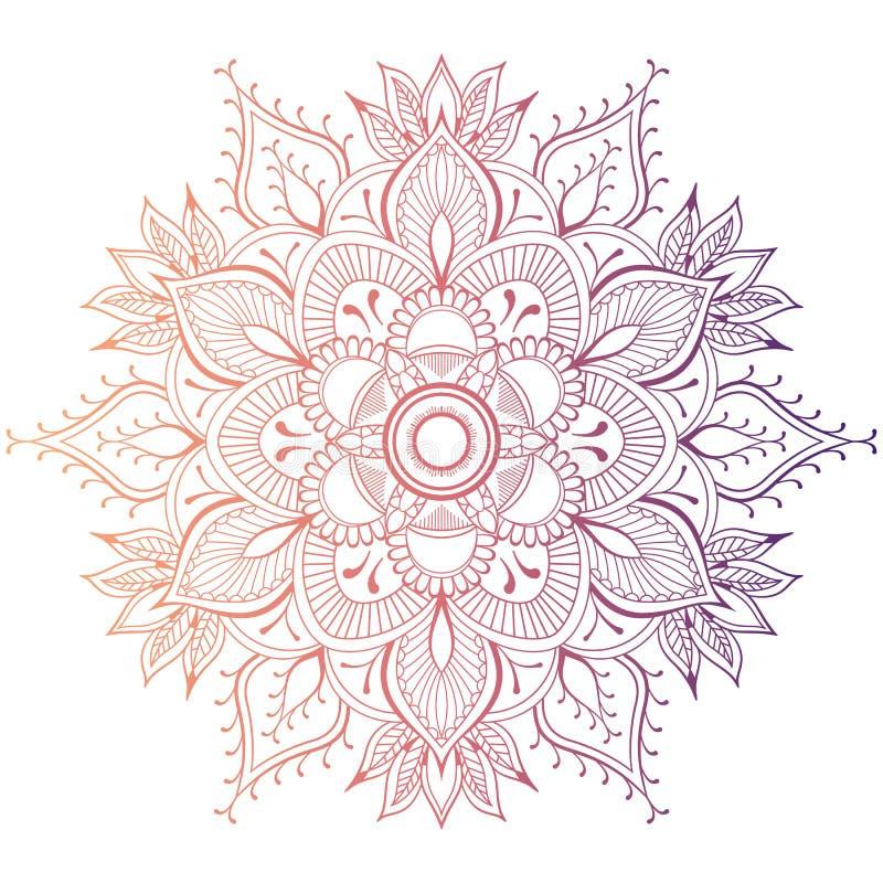 Sistema de la tarjeta de la invitación de la boda del vintage con el modelo de la mandala y en color Ilustrador del vector del fo ilustración del vector