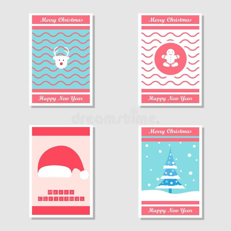 Sistema de la tarjeta de Navidad del adorno y de la tarjeta de la invitación en diseño plano usando el árbol de navidad, el pan d libre illustration