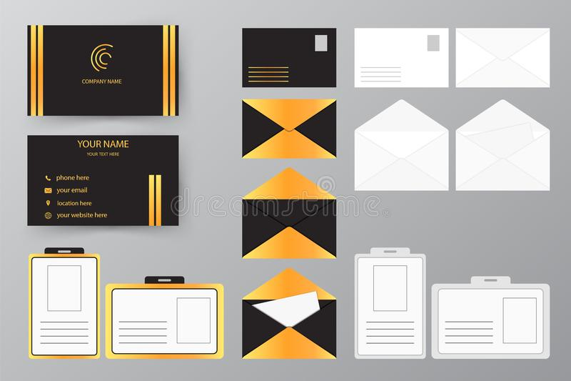 Sistema de la tarjeta de visita con el sobre y la insignia Cuesta personal del estilo ilustración del vector