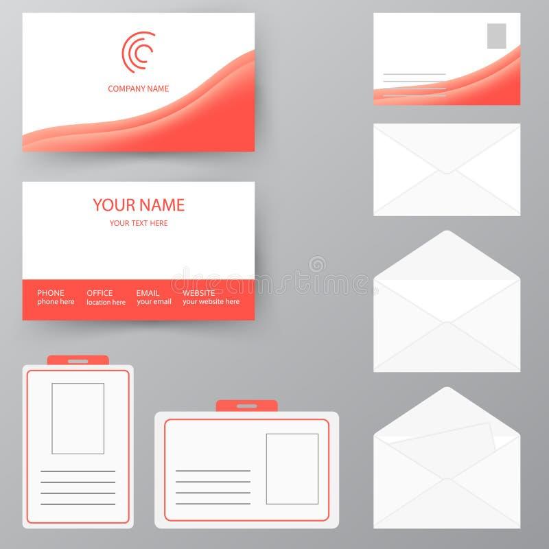 Sistema de la tarjeta de visita con el sobre y la insignia Cuesta personal del estilo stock de ilustración