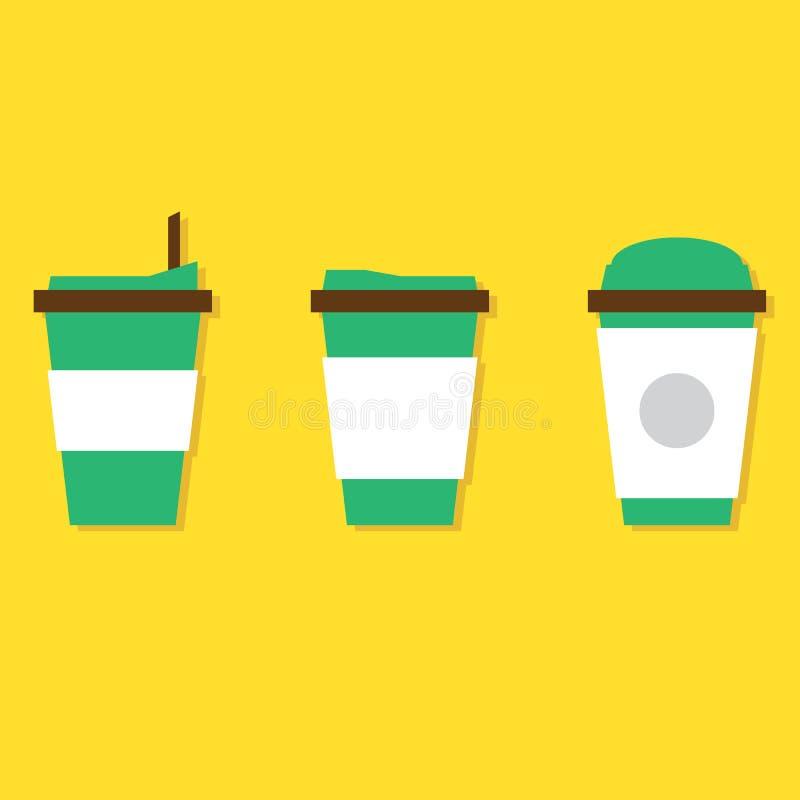 Sistema de la taza de papel del café caliente ilustración del vector