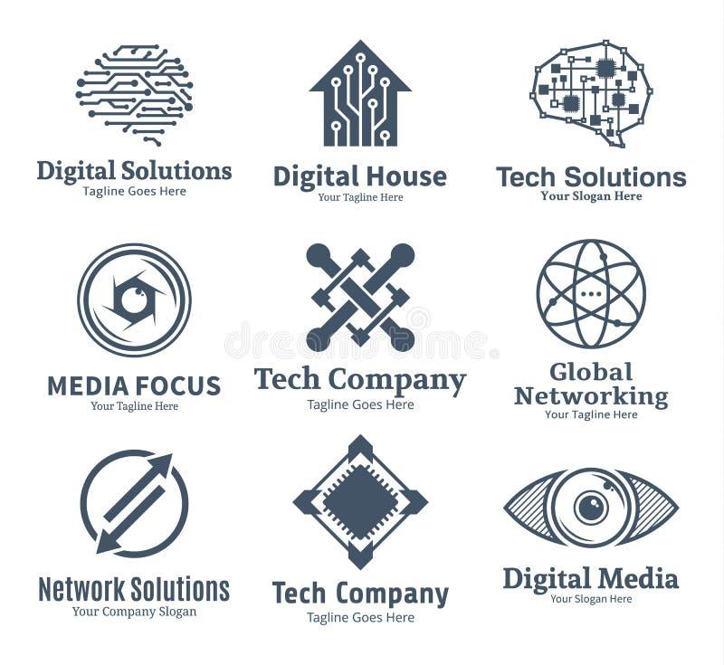 Sistema de la tecnología del vector, de la red y del logotipo de informática libre illustration