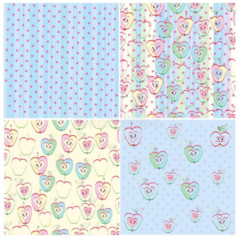 Sistema de la textura inconsútil cuatro en manzanas, ejecutado ilustración del vector