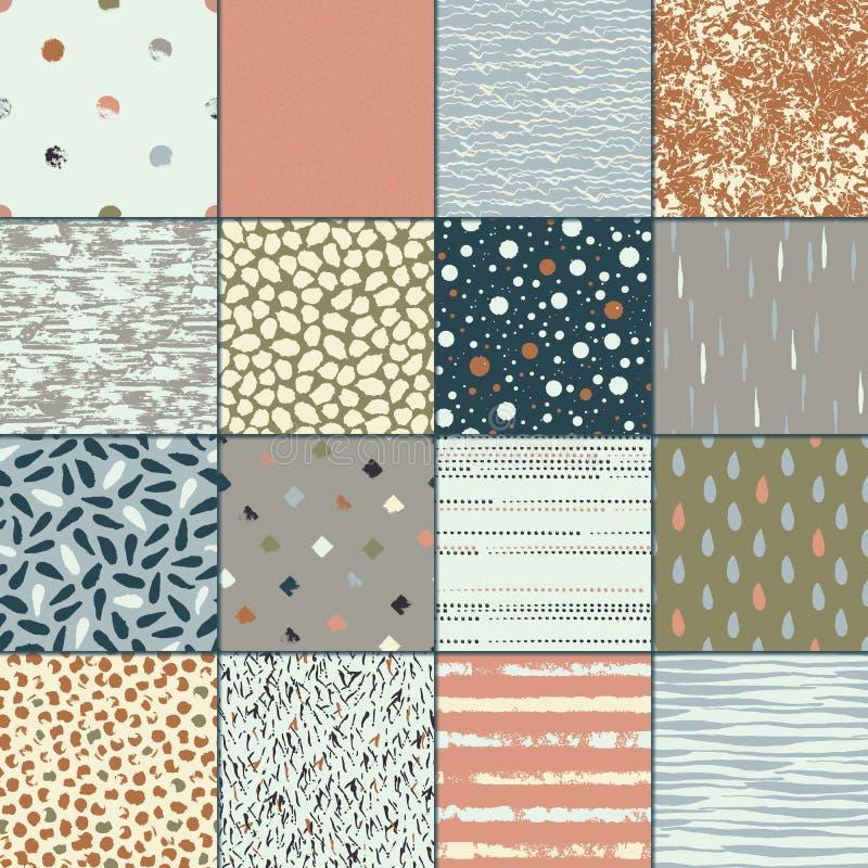 Sistema de la textura inconsútil 16 Descensos, puntos, líneas, rayas, círculos, rectángulos stock de ilustración