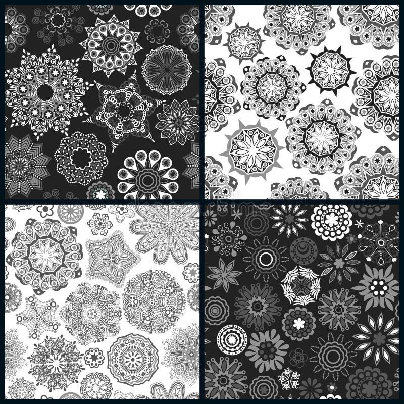 Sistema de la textura inconsútil floral adornada cuatro libre illustration