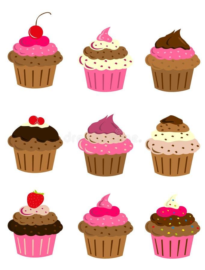 Sistema de la torta de la taza stock de ilustración