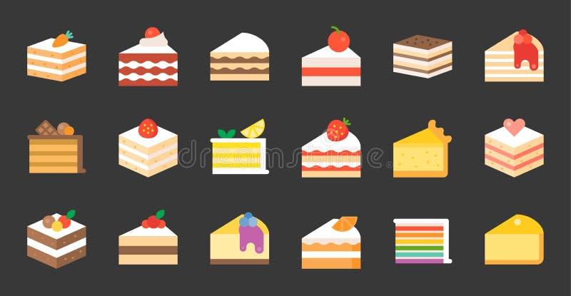 Sistema de la torta, icono plano ilustración del vector