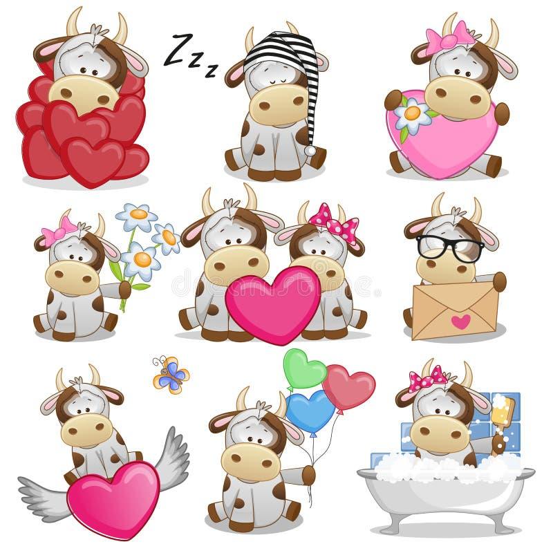 Sistema de la vaca linda de la historieta stock de ilustración
