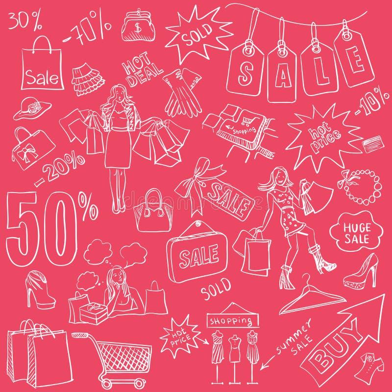 Sistema de la venta de los garabatos que hace compras Estilo dibujado mano libre illustration