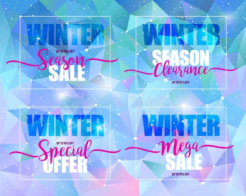 Sistema de la venta del invierno en fondo triangular azul Ejemplo del vector, diseño de la plantilla, lista, folleto, bandera, cu stock de ilustración