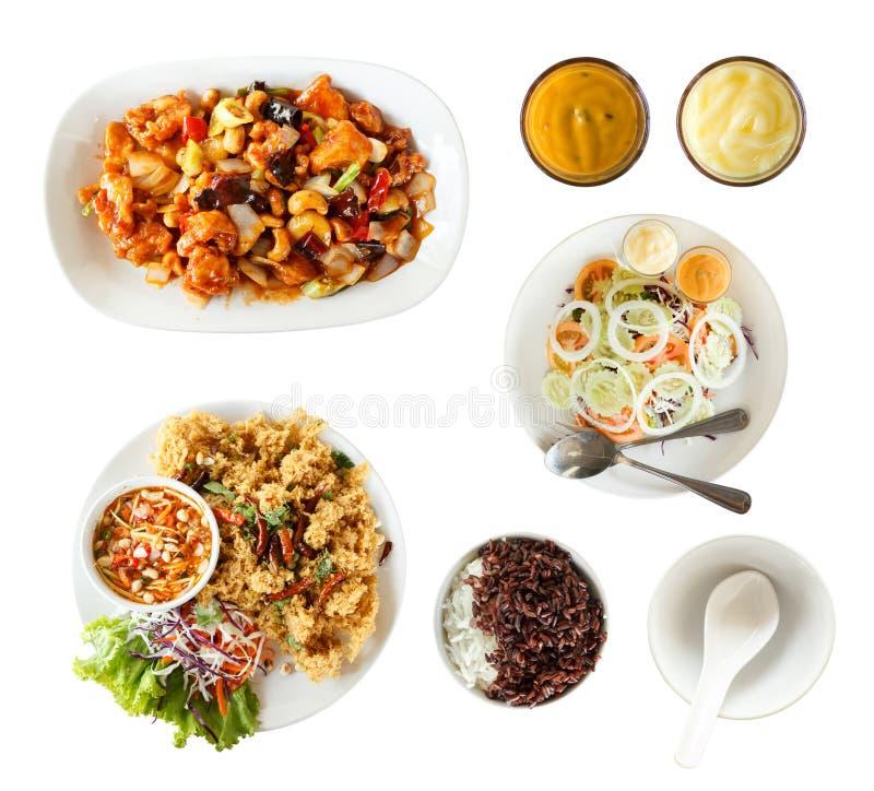 Sistema de la visión superior de comida tailandesa imagen de archivo libre de regalías