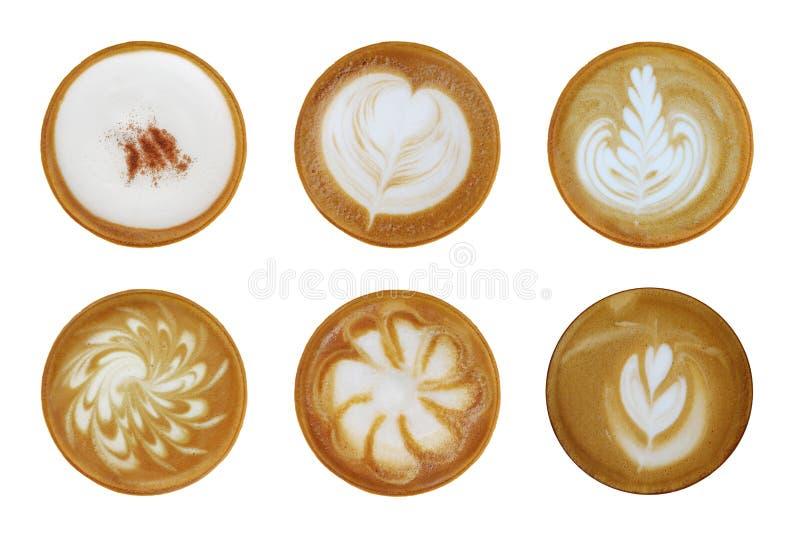 Sistema de la vista superior 6 del isolat caliente del arte de la espuma del capuchino del latte del café foto de archivo