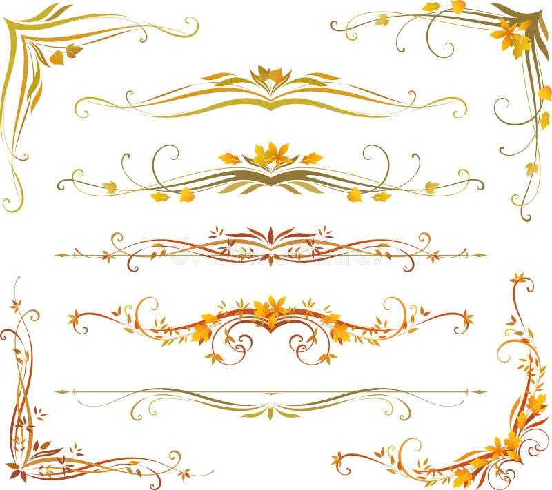 Sistema de la voluta del otoño ilustración del vector