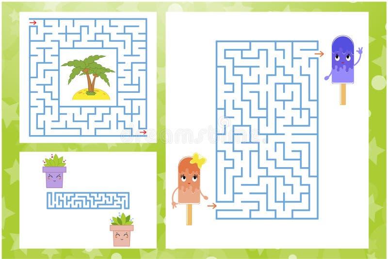 Sistema de laberintos rectangulares y cuadrados con los caracteres Juego para los cabritos Rompecabezas para los niños Un encanta libre illustration