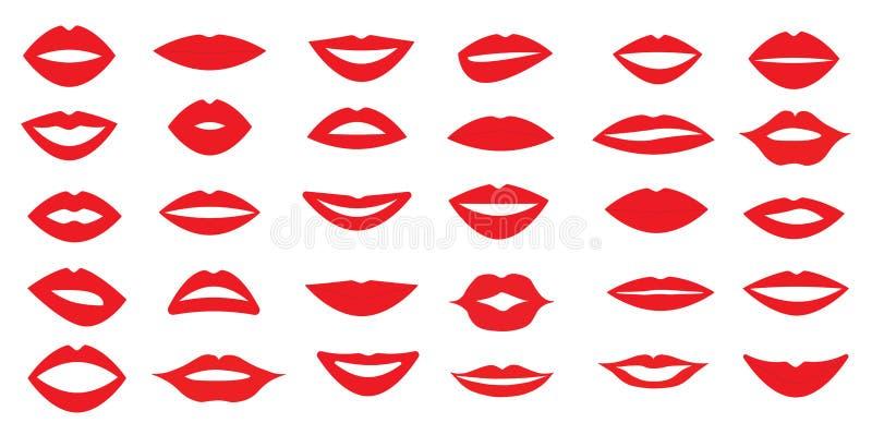 Sistema de labios del ` s de la mujer Diversa forma de los labios Diversas emociones Ilustración del vector 30 pedazos libre illustration
