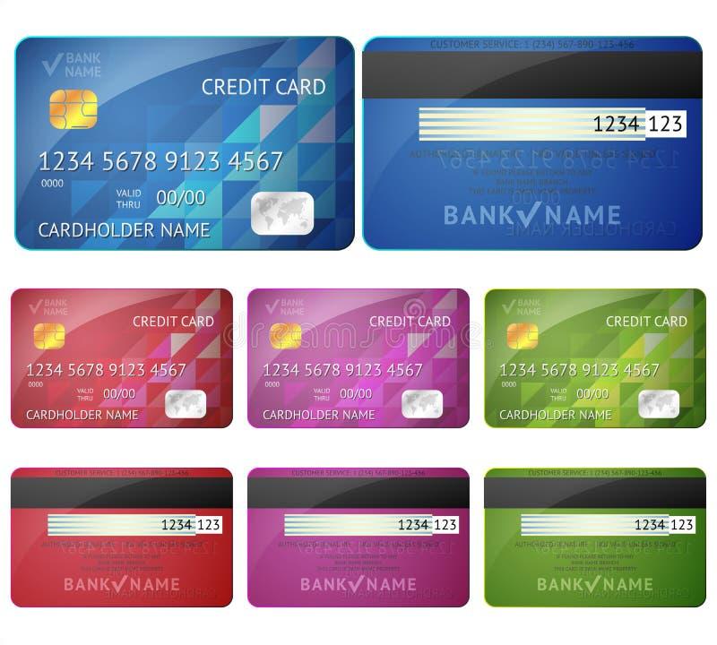 Sistema de lados realistas de la tarjeta de crédito dos aislados encendido stock de ilustración