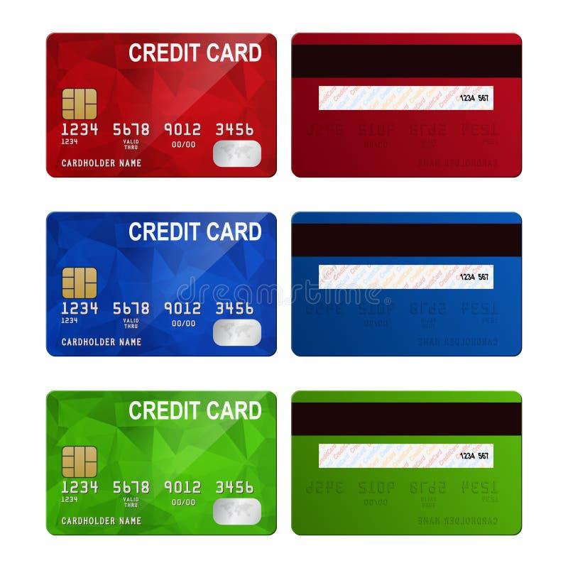 Sistema de lados realistas de la tarjeta de crédito dos aislados encendido ilustración del vector