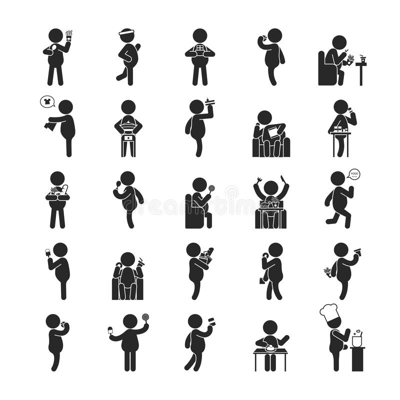 Sistema de las actividades gordas del hombre, iconos humanos del pictograma ilustración del vector
