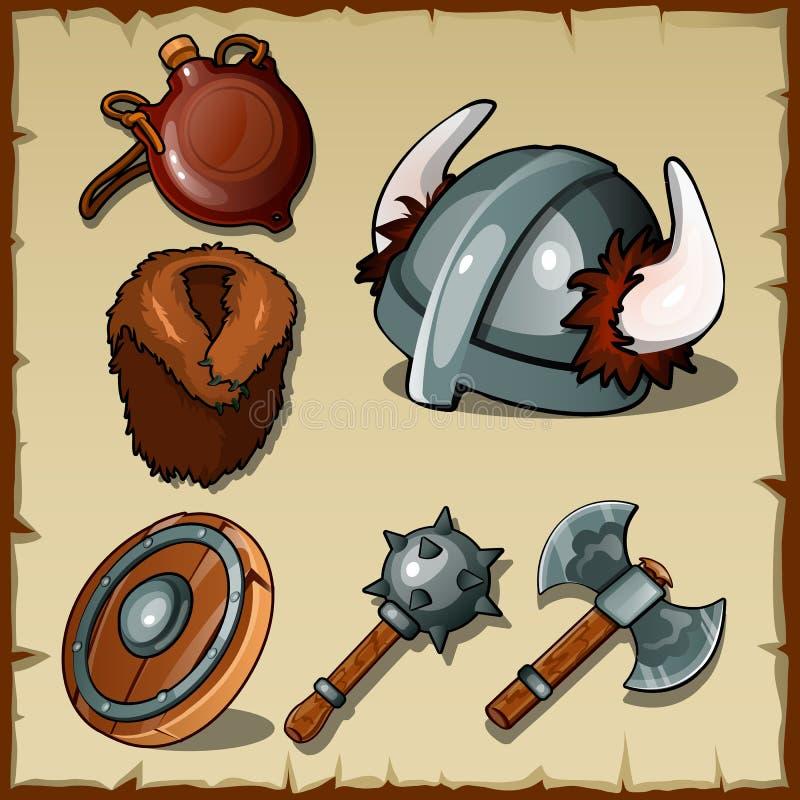 Sistema de las armas y de los equipos de Vikingos ilustración del vector
