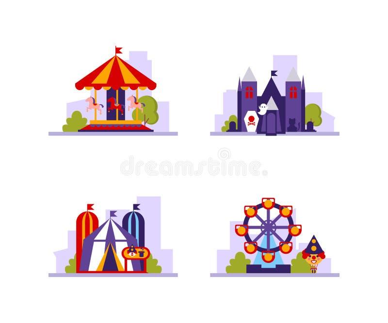 Sistema de las atracciones del parque de atracciones diverso, tienda de circo, carruseles, paseo asustadizo del horror y Ferris W ilustración del vector