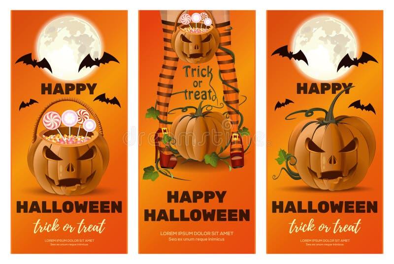 Sistema de las banderas anaranjadas verticales para Halloween stock de ilustración