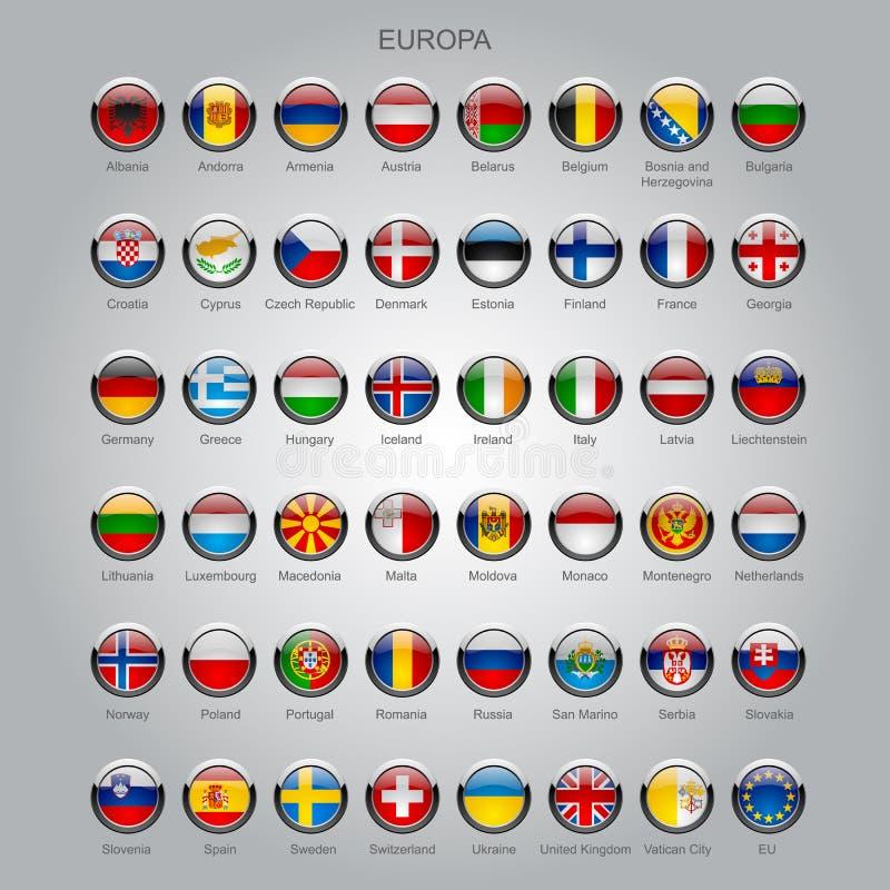 Sistema de las banderas brillantes redondas de todos los países soberanos del Europa stock de ilustración