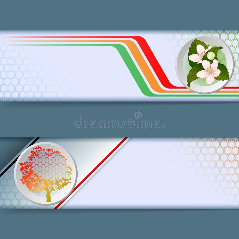 Sistema de las banderas con diseño linear colorido, ramo de flores, árbol genérico stock de ilustración