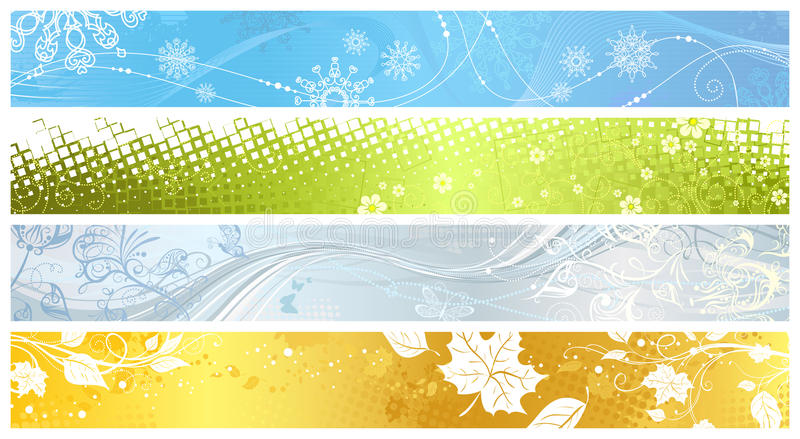 Sistema de las banderas de cuatro estaciones stock de ilustración