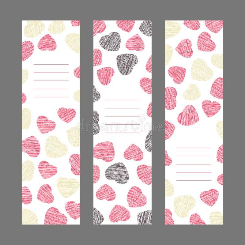 Sistema de las banderas de la vertical del día de tarjeta del día de San Valentín Ornamento rosado de los corazones V libre illustration