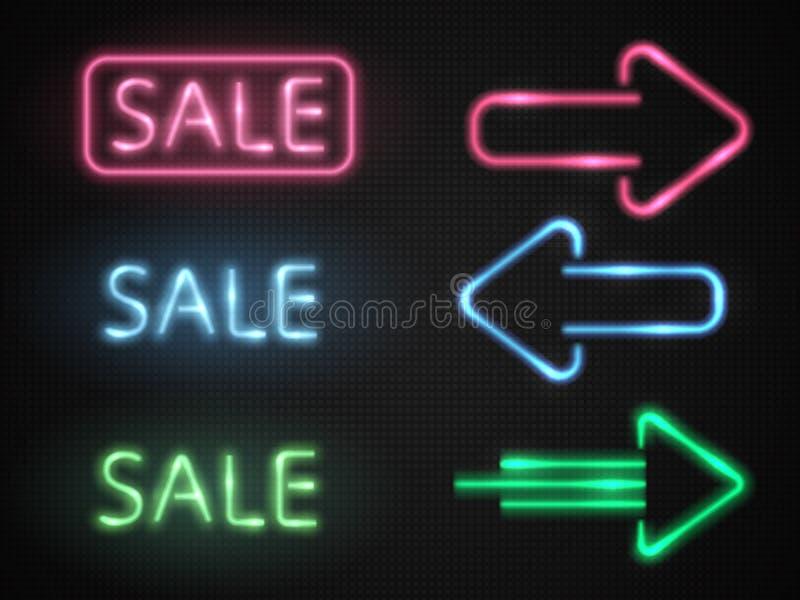 Sistema de las banderas de neón de la venta con las flechas del resplandor Vector stock de ilustración