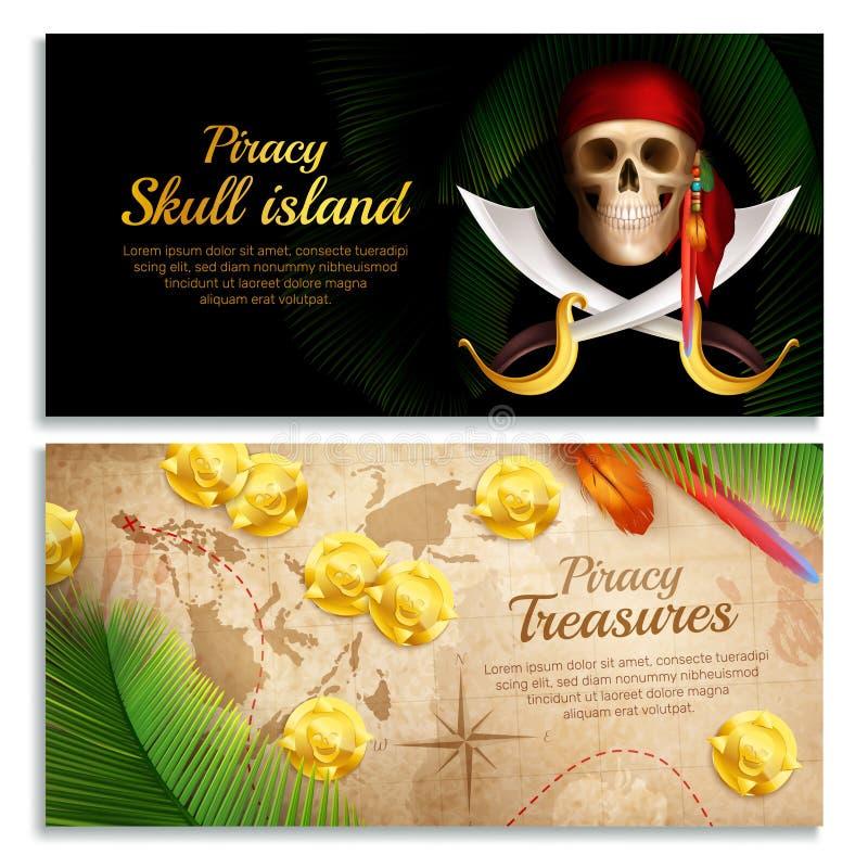 Sistema de las banderas del pirata stock de ilustración