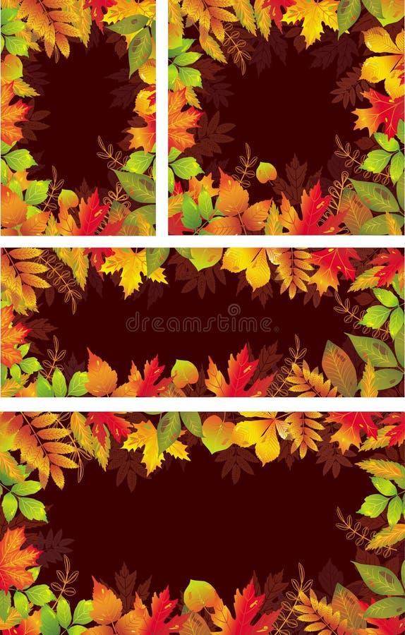 Sistema de las banderas estacionales de hojas otoñales ilustración del vector