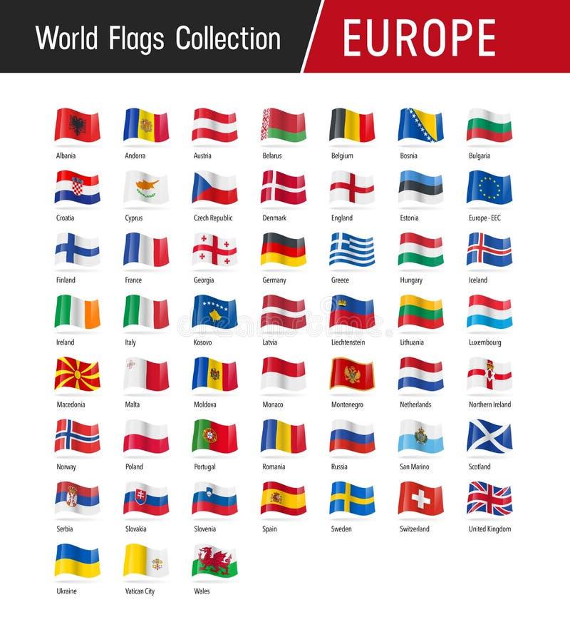 Sistema de las banderas europeas - ejemplos del vector ilustración del vector
